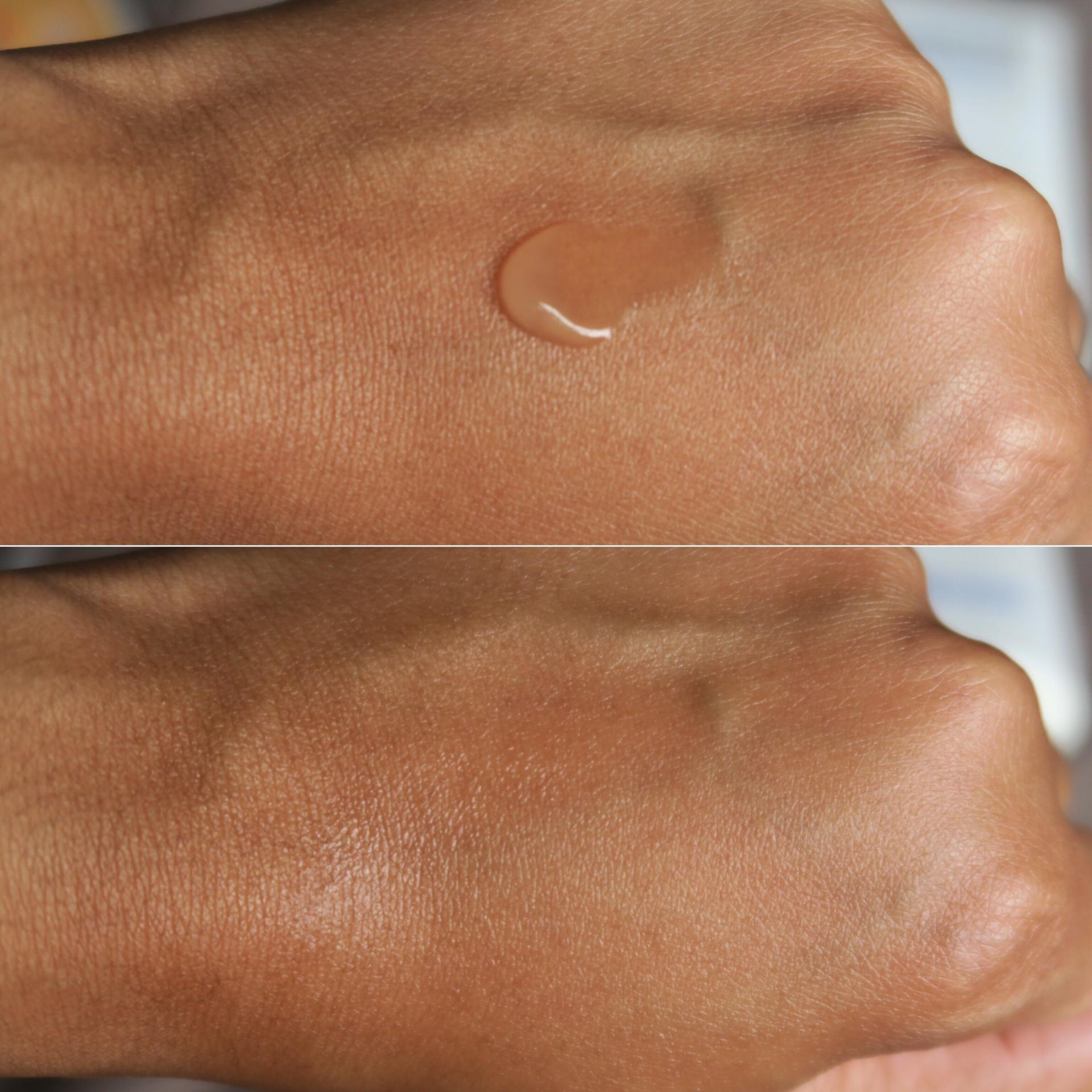 Swatch of Supergoop Unseen Sunscreen on Brown Skin